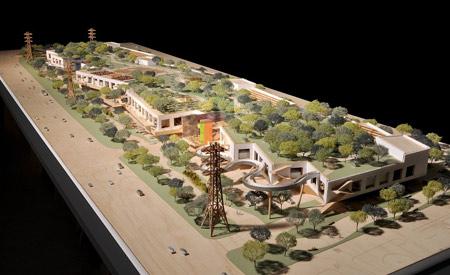 Maquete da nova sede do Facebook, projeto do arquiteto Frank Gehry.   [fonte da imagem]