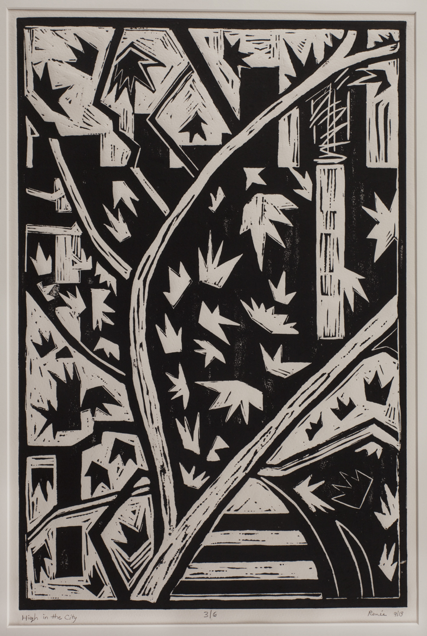 """High In The City"" 19 x 26 inches,  Linoleum block print on Arches paper."