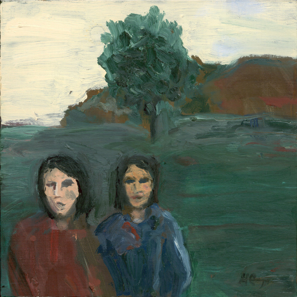 """Two Women in a Landscape"":  12 x 12 inches, Oil on Linen"