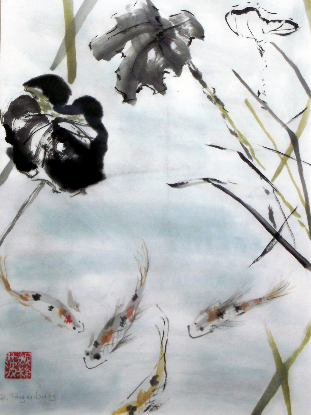 Swimming, 20x24in, Asian brush painting on rice paper