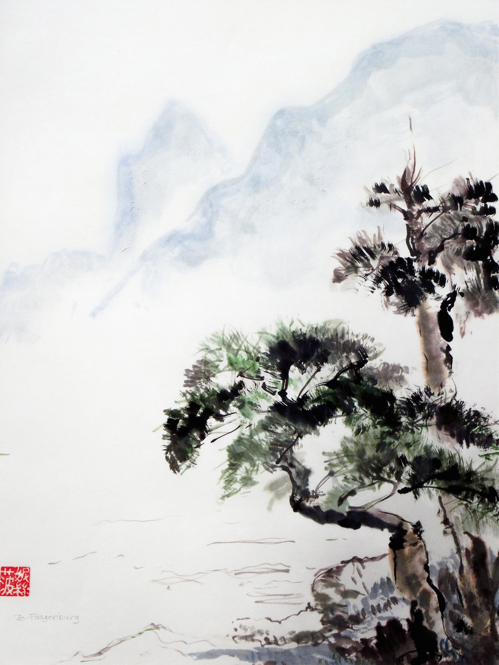 In The Mist, 20x24in, Asian brush painting on rice paper