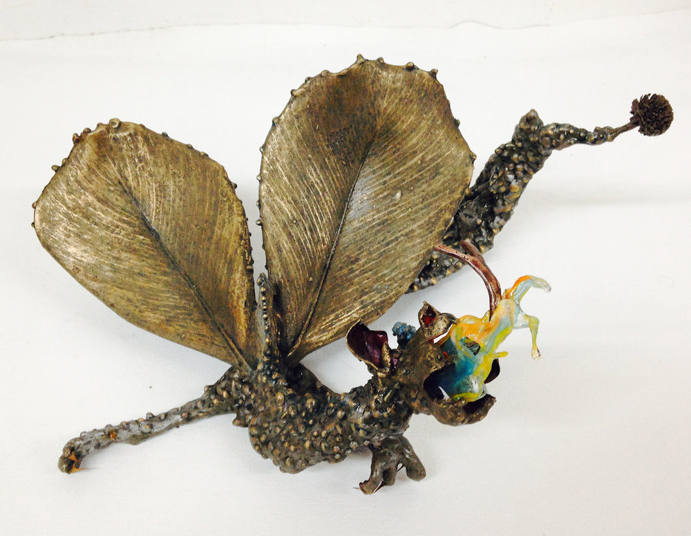 """Fairy Dragon"" Free standing Bronze sculpture with mixed media. H 4.5"" x W 11.5"" x L 7"" $5,000.00"