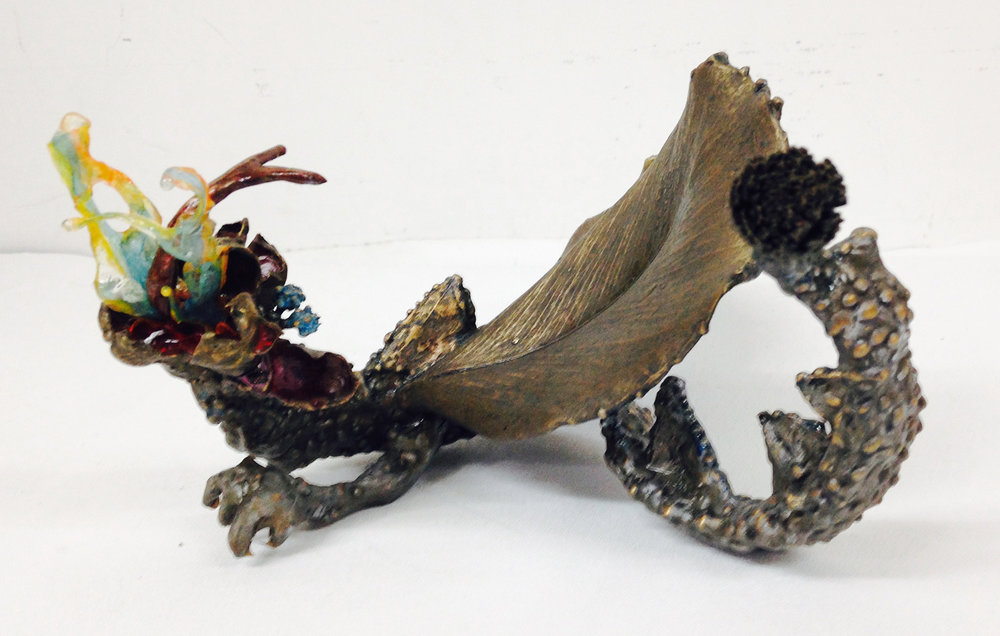 """Fairy Dragon"" (Other View) Free standing Bronze sculpture with mixed media. H 4.5"" x W 11.5"" x L 7"" $5,000.00"