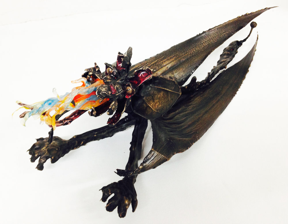 """Big Flame Dragon"" Free standing Bronze sculpture with mixed media. H 6.5"" x W 5.5"" x L 18"" $6,000.00"