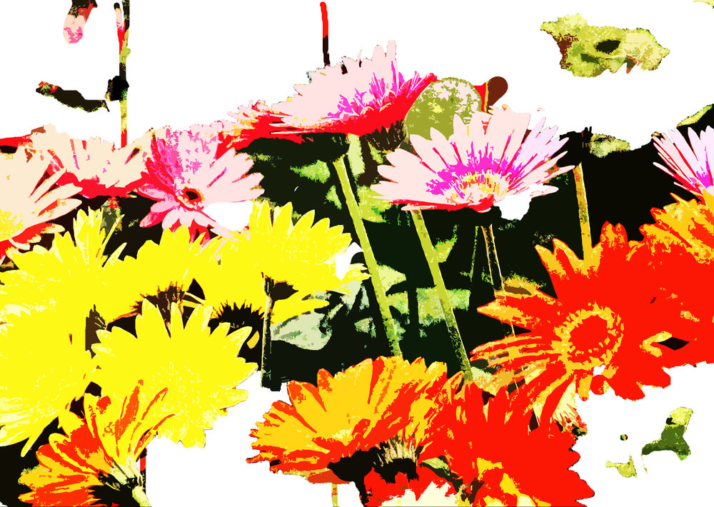 """Red Daisies"" 15 x 22 inches, Digital Print on Handmade Paper $700."