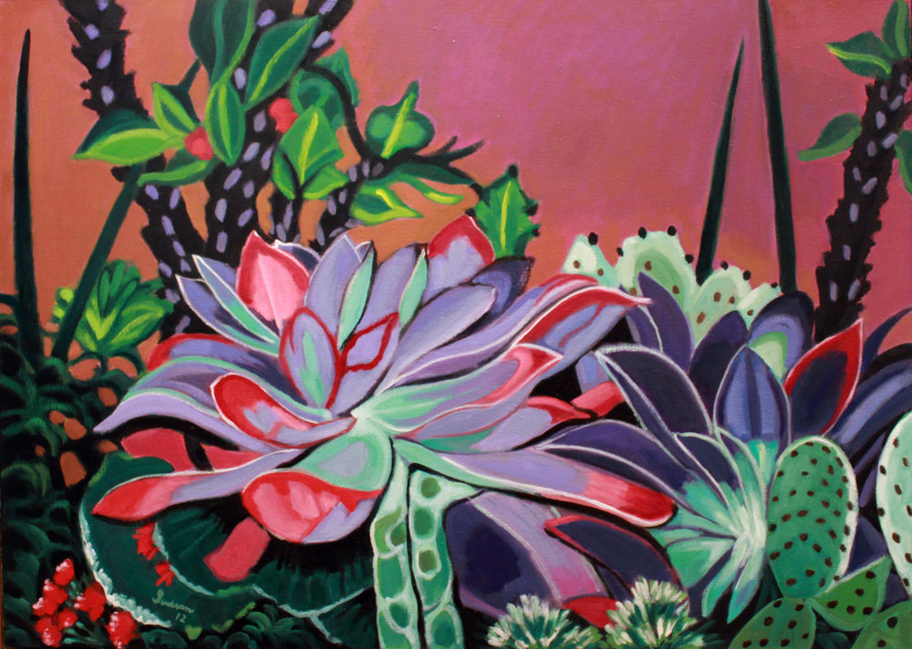 """Cacti & Succulents, 12"",  Oil, 36 x 50, $3,700"