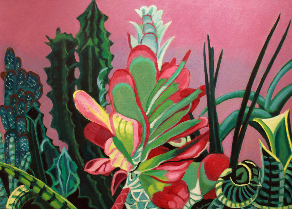 """Cacti & Succulents, 13"", Oil, 36 x 50, $3,700"