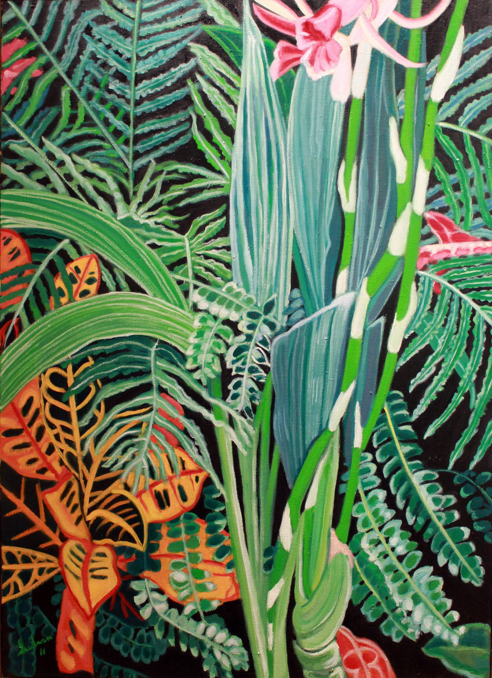 """Orchids & Ferns"", Oil, 50x36, $3,700"