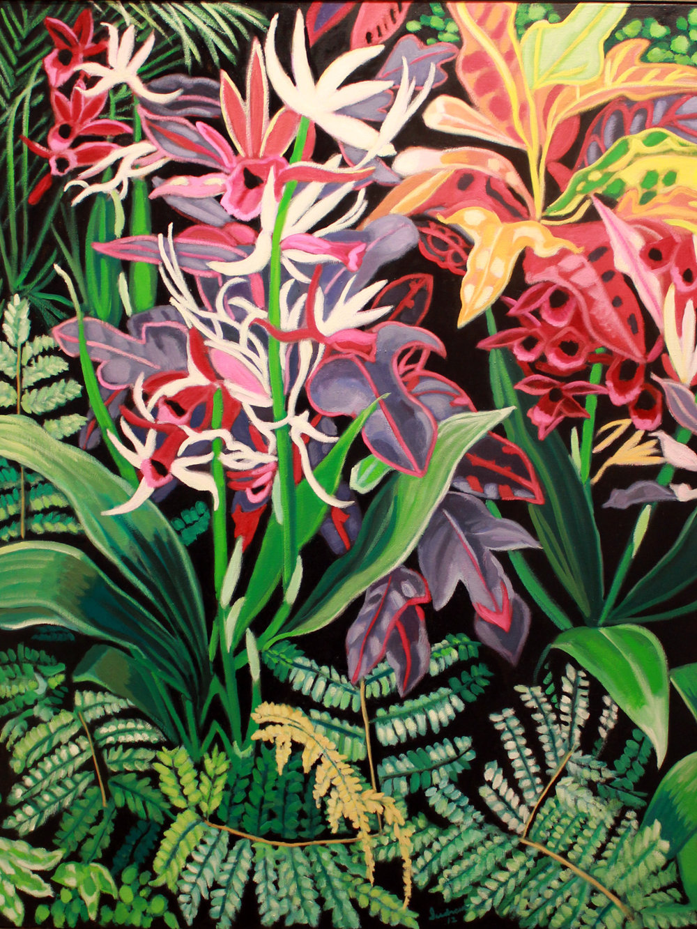 """Orchids & Ferns, 2"", Oil, 52 x 40, $4,000"