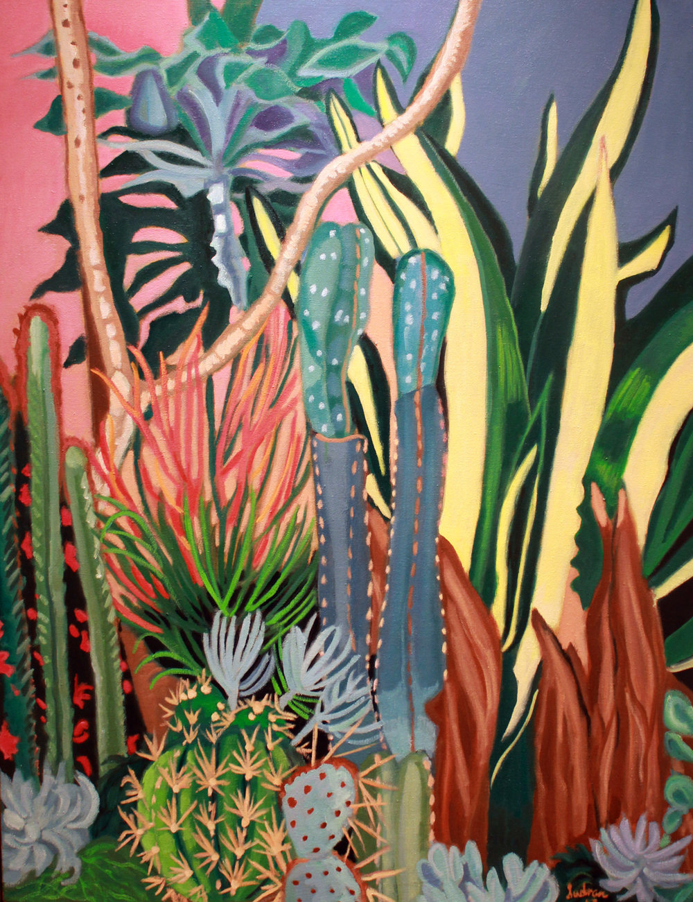 """Cacti & Snake Plants"", Oil, 52 x 40, $4,000"