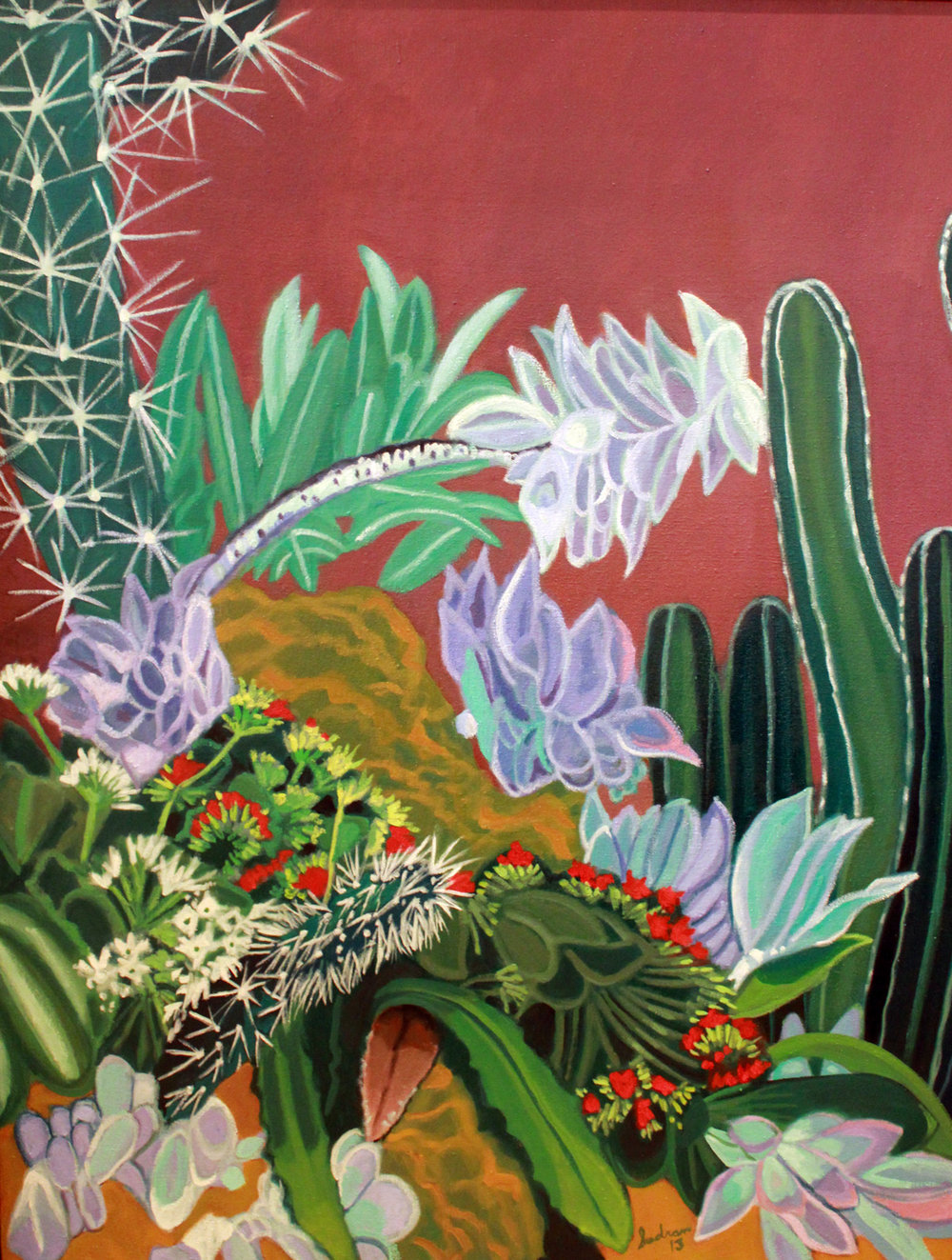 """Cacti & Succulents, 15"", 52 x 40, Oil, $4,000"