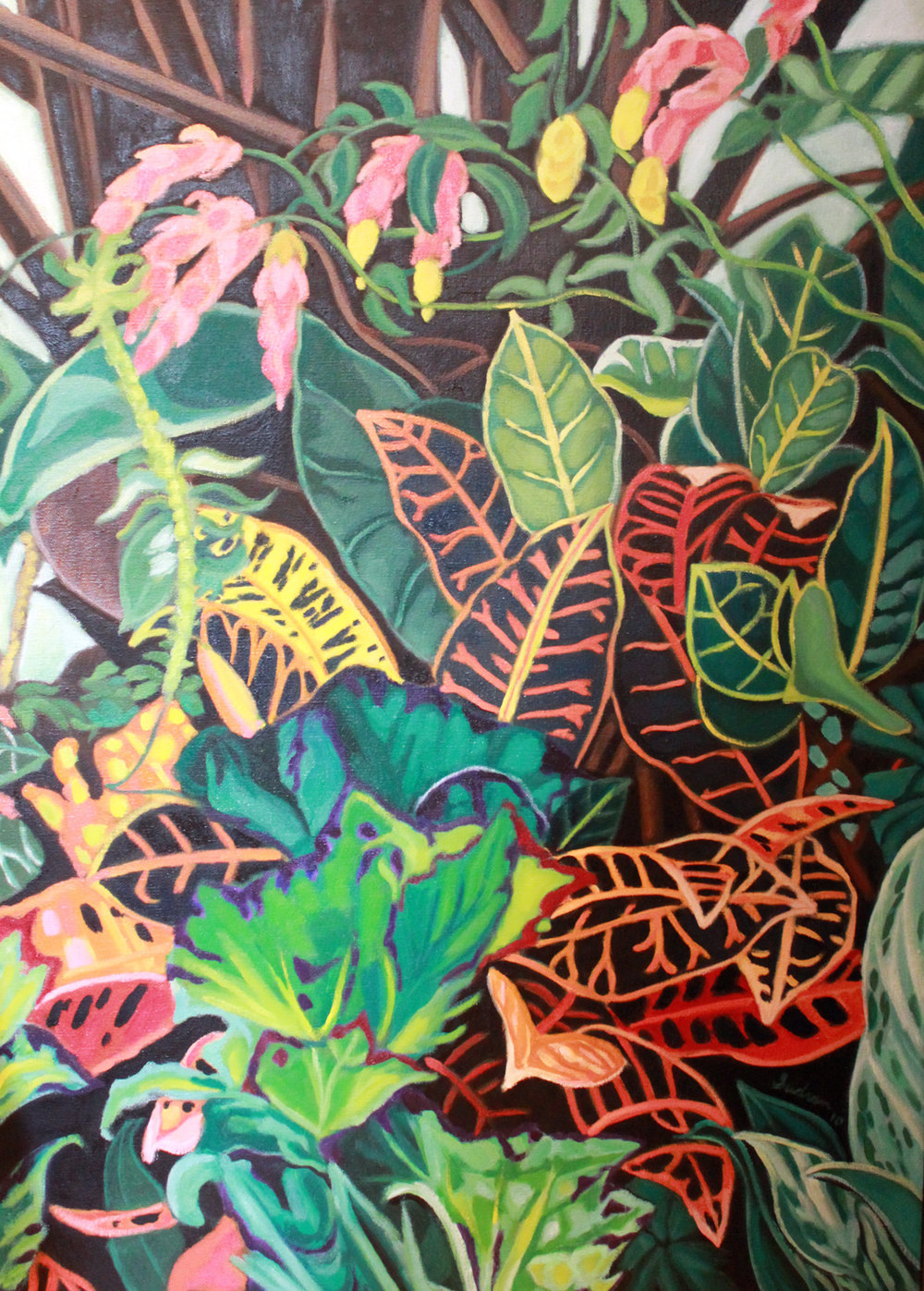 """Crotons &Shrimp Flowers"", 50 x 36, Oil, $3,700"