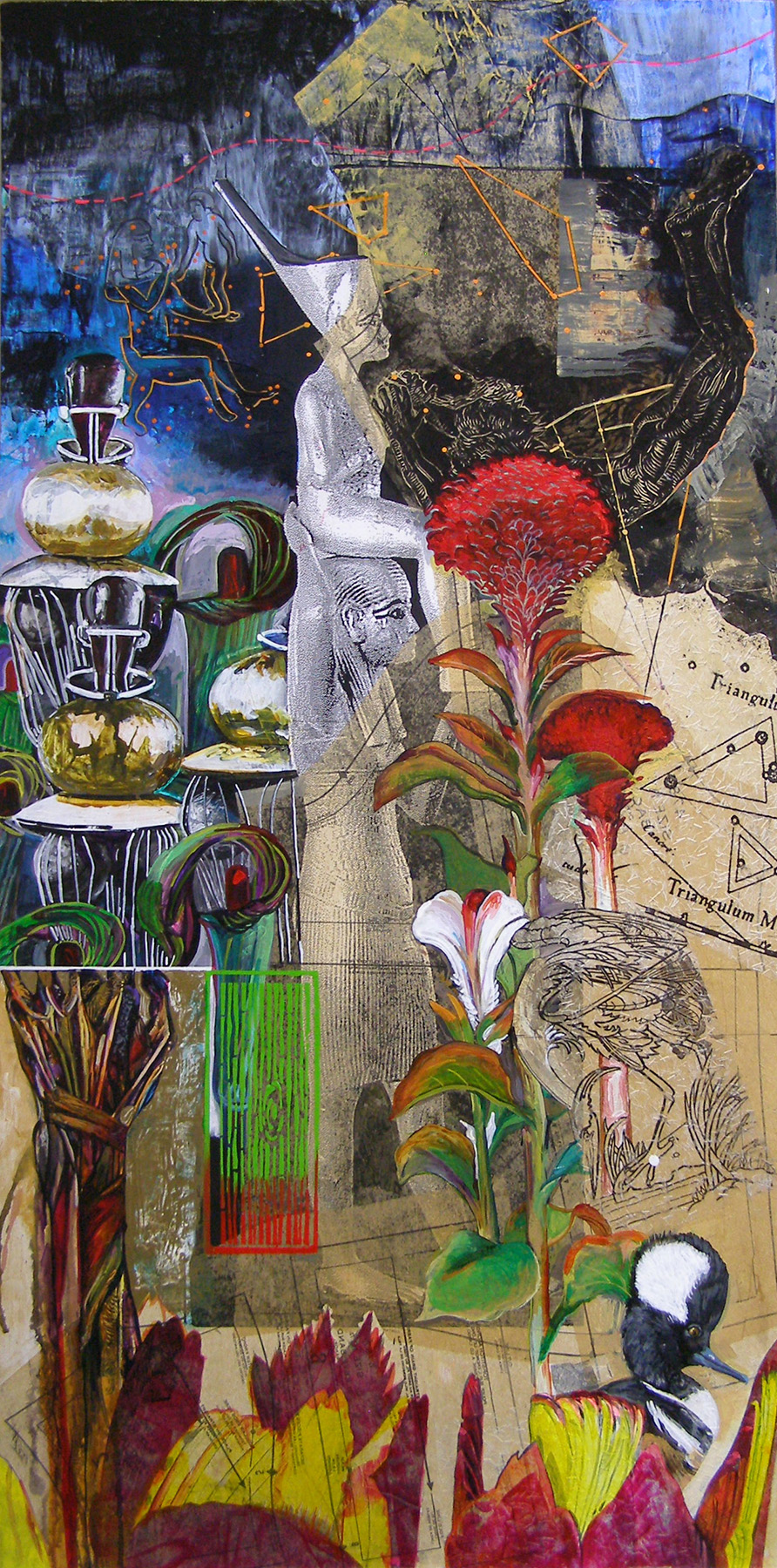 "Night Garden: Royal Boy and His Geometry, 24x48"", Mixed Media. Sold"