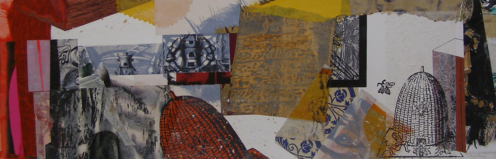 "Torii:  Off Kilter Beekeeper, 9 ½ x 29"", Mixed Media, $450"
