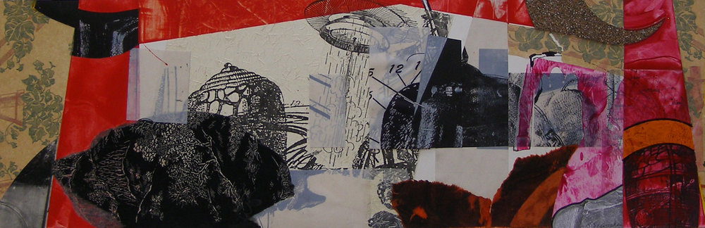 "Torii: Samovar Landing, 9 1/2x 29"", Mixed Media. Sold"