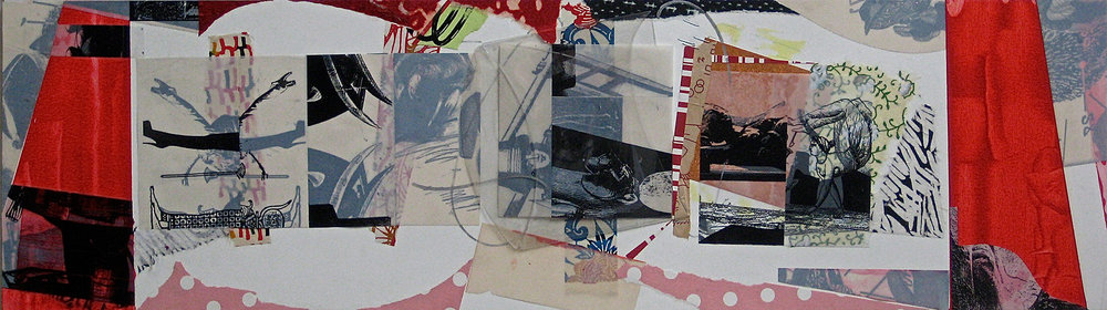 "Torii, 9 1/2 x 29"", Mixed Media. Sold"