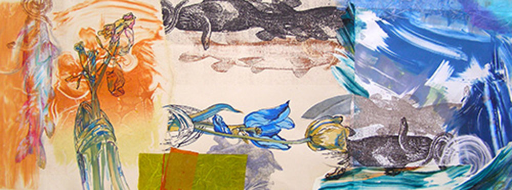 "Tulip Fish, 12x32"", Mixed Media, $600"