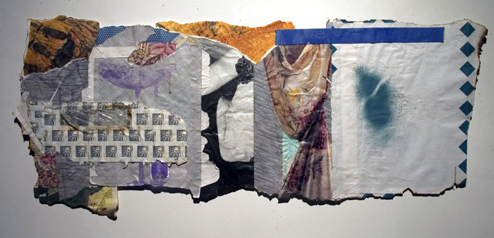 """Behind the Curtain"" mixed media on security envelopes collaged, 15x 36"" approx."