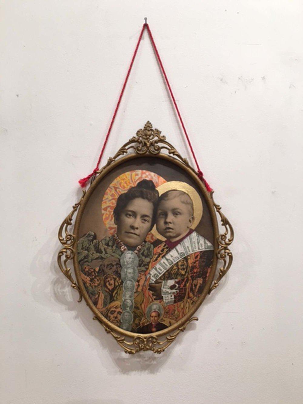 """""""MADONNA OF MONEY""""   collage w foil leaf in antique frame, $475."""