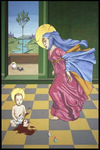 """Our Lady of Perpetual Aggravation"", Acrylic on Canvas over Wood, Metal, Plastic and Cloth, 21 x 17 ½ x 2 inches, $1,400"