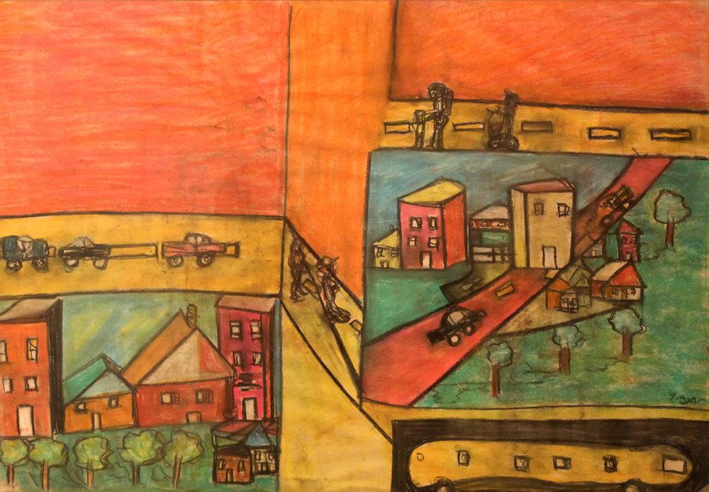 """Ocean Avenue"", pastel, 30x40"" (framed) $1,200"