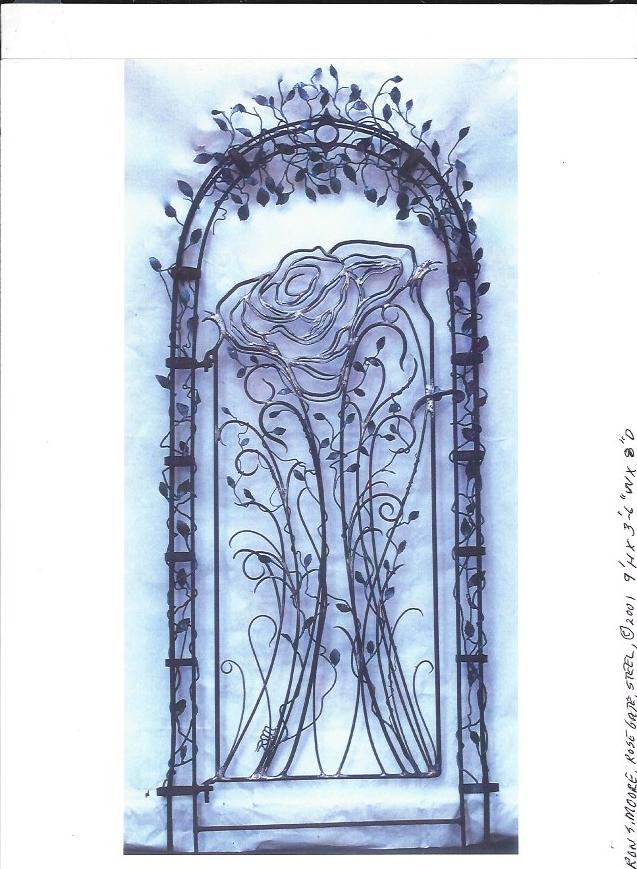 """""""Rose Gate"""", 9'H x 3.5' W x 8"""" D, Steel"""