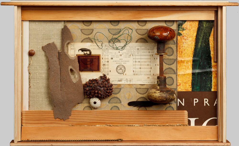 "Colonel Mustard, Mixed Media, including: various woods, fabrics, paper, sycamore bark, wire, doorknob, DOD punch card, bronze spill, dried orange, cloves, urchin shell, pull chain, feather (In which we add to life's mysteries.), 2011, 17""w x 11.5""h x 3.5""d, $1200."