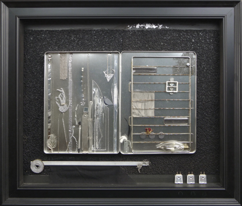 "Enjoy the Interval, Mixed Media, including: various metals, plastics, rubber, silver leaf, feather, dried rosebud, 2015, 27.5""w x 23.5""h x 2.25""d, $1250."