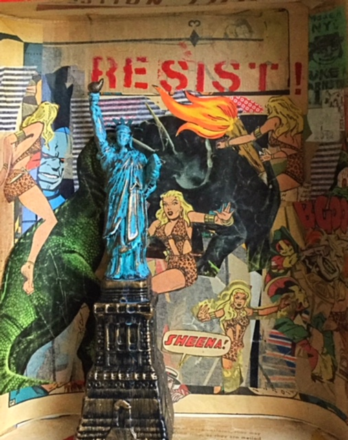 RESIST, Assemblage--wood, paper, comics, found object, approx. 11x14, $175