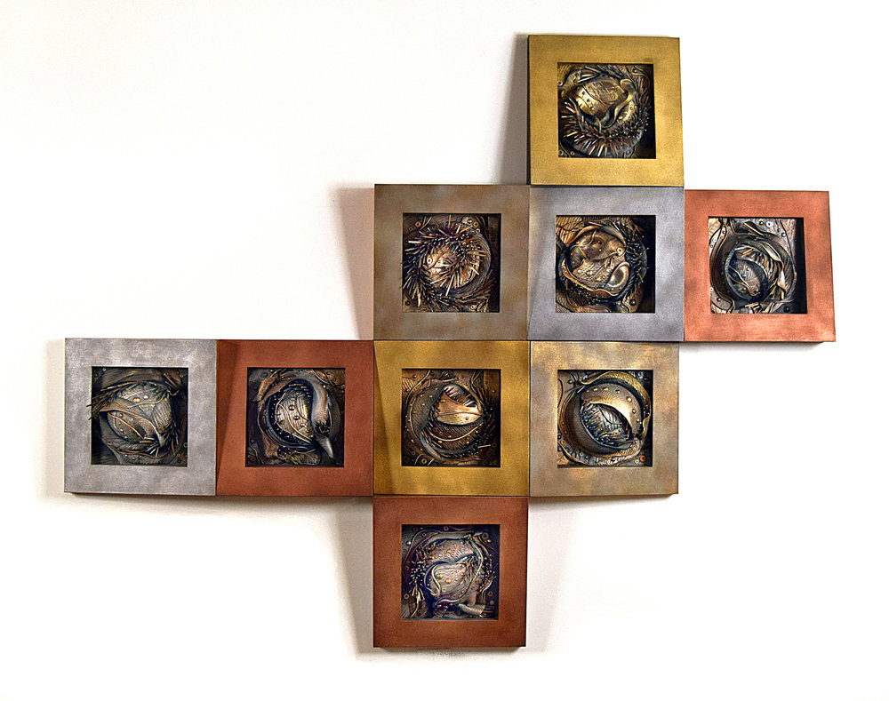 """Serpentine"", sculpting epoxy, masonry nails, tacks, washers, hardware, acrylic, wood & canvas 9 – 22"" x 22"" x 8"" squares; 66"" x 66"" x 8"" installed, 2014."
