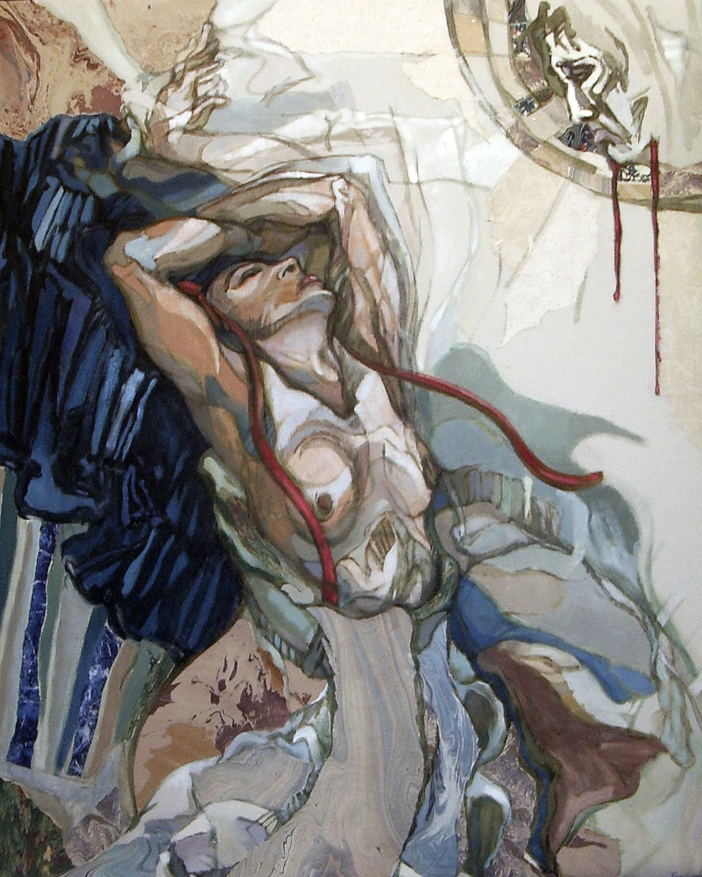 "L'Apparition, oïl and collage on canvas, 42"" x 34"", 2004, $2800"