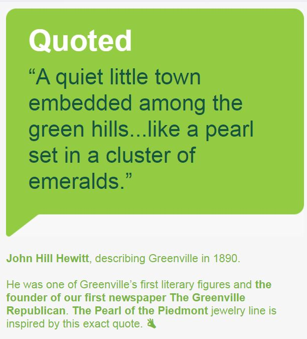 GVLtoday  - Thanks to GVLtoday for sharing about our   Pearl of the Piedmont - The Greenville Collection - Local History Inspired Jewelry