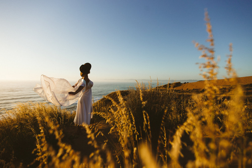 Vintage lingerie styled shoot, in the dunes at Montana de Oro, photographed by Jason Hudson.