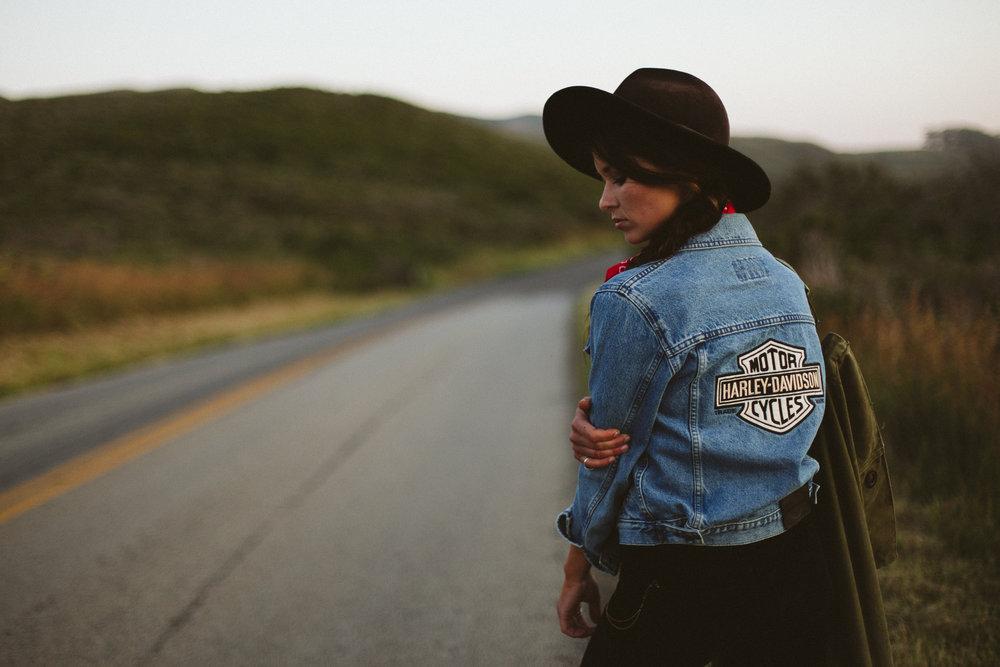 Vintage denim Harley Davidson jacket styled shoot, shot by Jason Hudson.