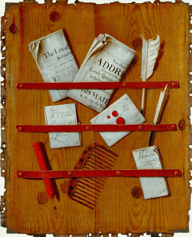 Edward Collier,  A Tromp L'Oeil of Newspapers, Letters and Writing Implements on a Wooden Board,  c. 1699. Photo ©  The Tate . Image released under Creative Commons CC-BY-NC-ND (3.0 Unported).