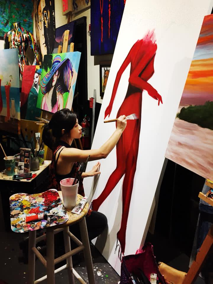 Ha Pham - Pictured here In her local studio, Is among the artists joining The EmpaCurious Local Ethnic Art Project.