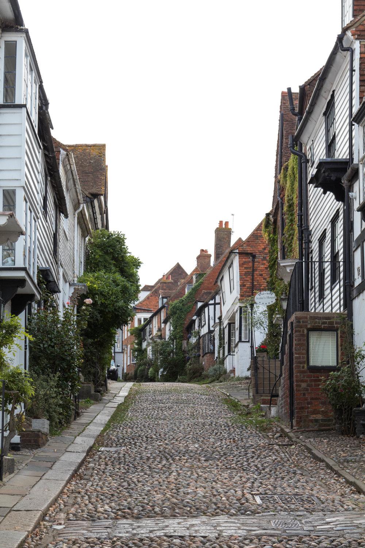 The foot of Mermaid Street in Rye, East Sussex, England.