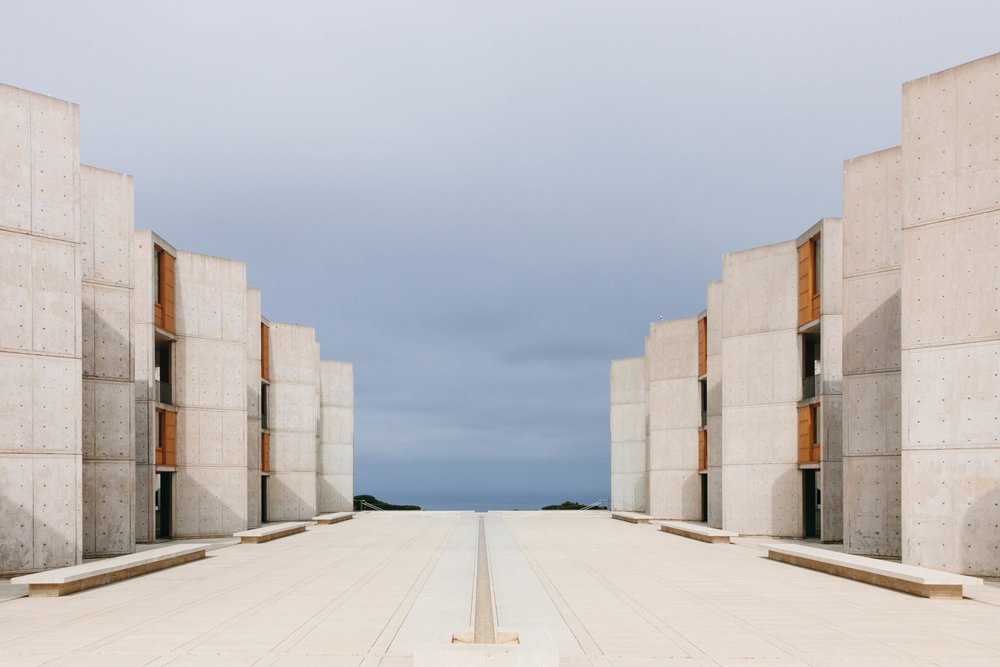 Dr. Jonas Salk (of polio vaccination fame) asked his architect, Louis I. Kahn, to create an open, adaptable space to house the Institute's laboratories. The travertine courtyard is the showcase piece, with views looking out over the Pacific Ocean.