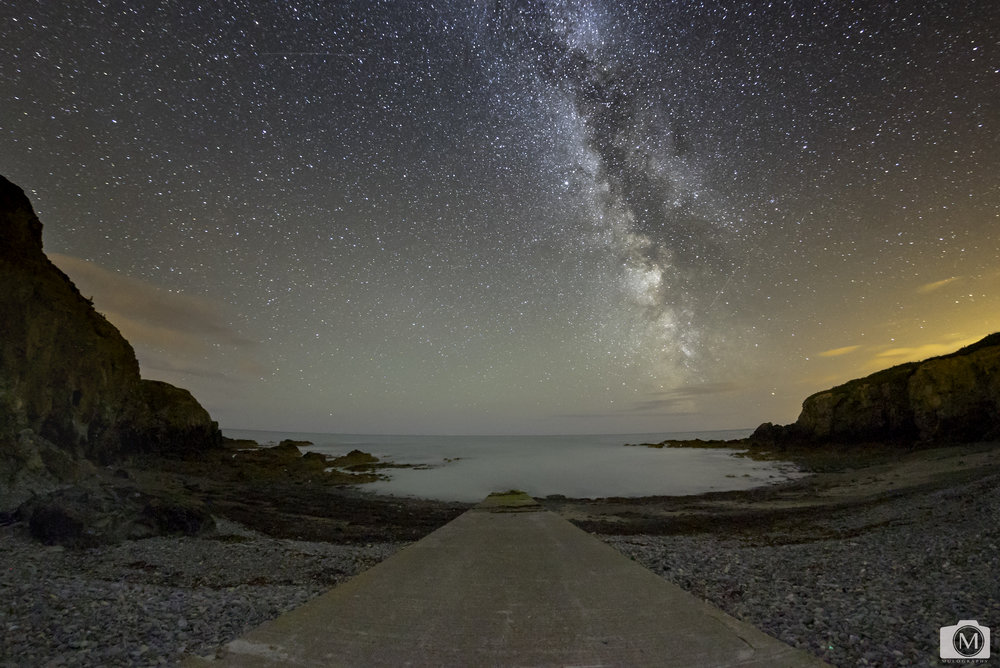 - The Slip in Bonmahon, Co. Waterford Ireland.  The Milky Way captured in August of 2017.