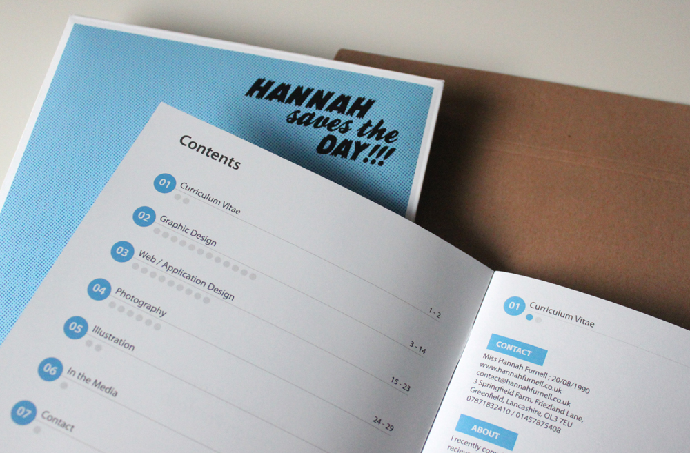 self promo, portfolio booklet, clean, simple, typography, hannah furnell