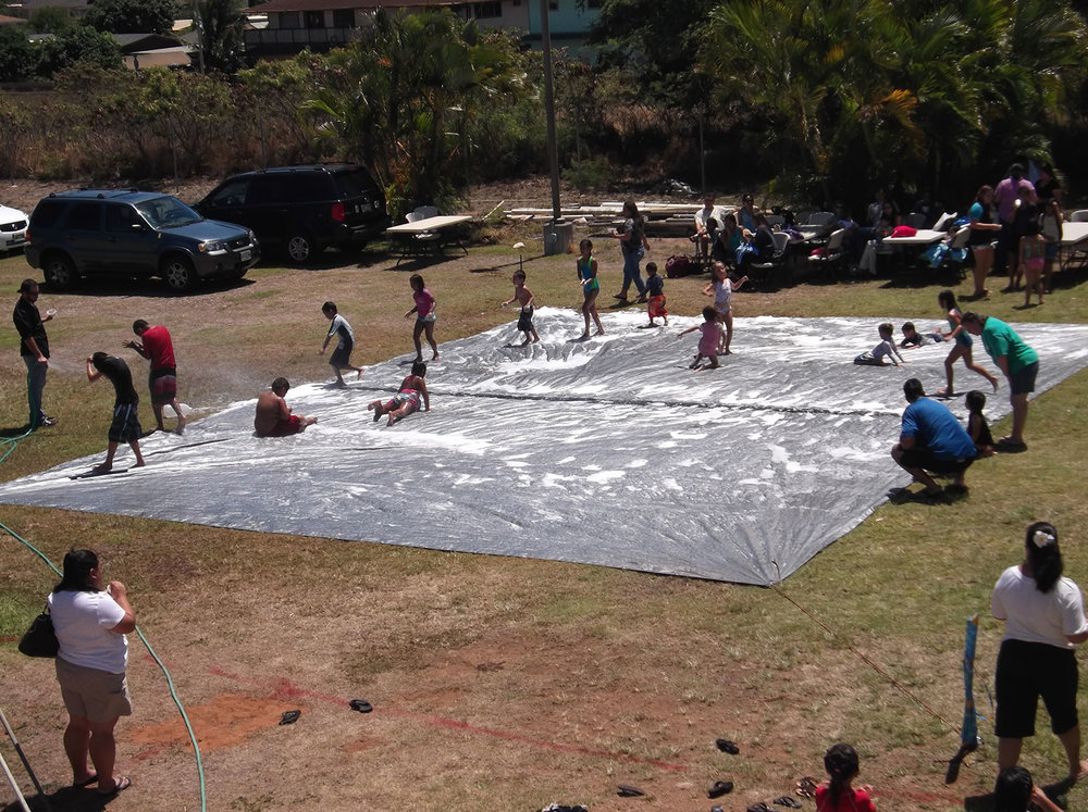 Ohana Sunday Grace Bible Church Maui Hawaii - slip and slide