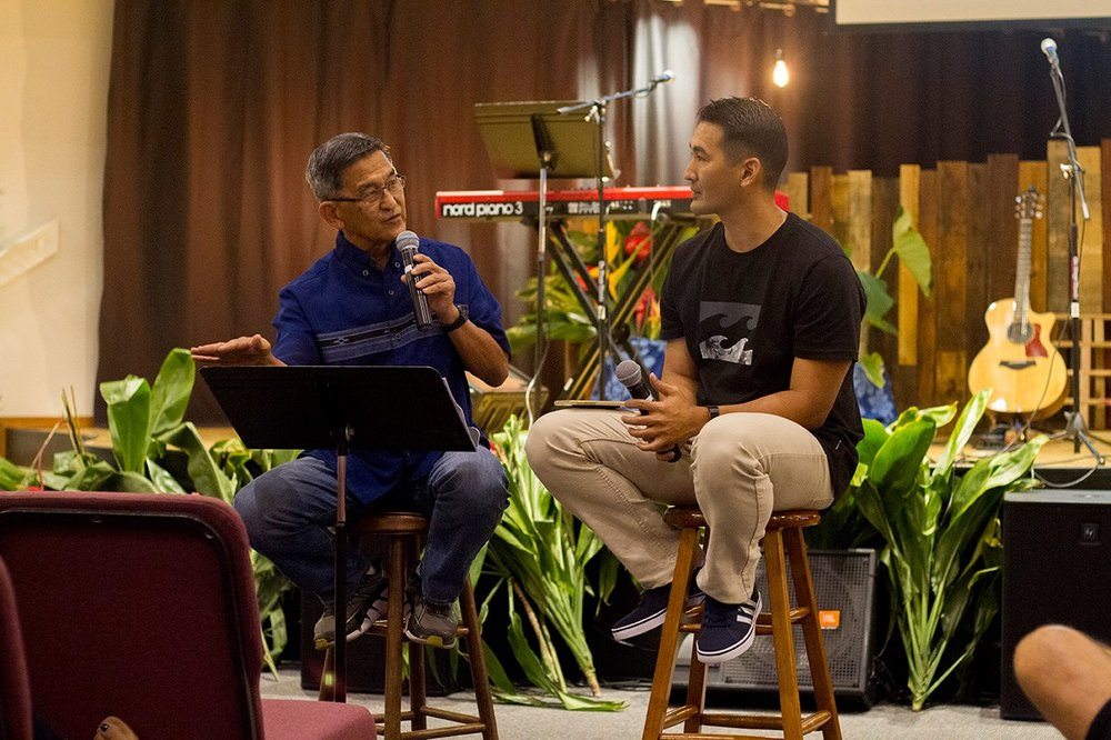 "Pastor Eddie Asato, left, and Pastor Jon, answer questions during their summer 2017 sermon series, ""You Asked For It."""