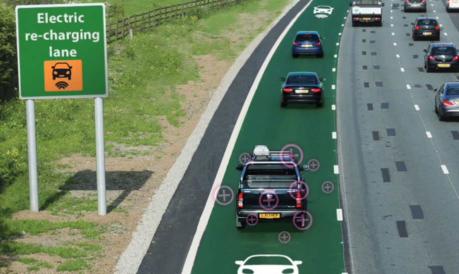 Charging lane for electric vehicles