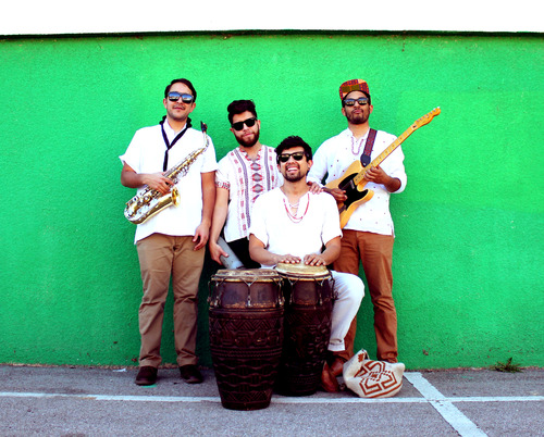 "QUITAPENAS, one word – all caps, four syllables – all claps, gives you a taste of their rhythmic contagion. This tropical Afro-Latin combo was born under the warm California sun. They borrow aesthetics from the radical 60s, 70s and 80s. Each song echoes a remix of history and invites one to engage in the liberating evenings of Angola, Peru, Colombia, Brazil and beyond. The name means ""to remove worries."" Everybody has a ""pena"" and the mission of QUITAPENAS is simple: to make you dance and leave you without a worry"