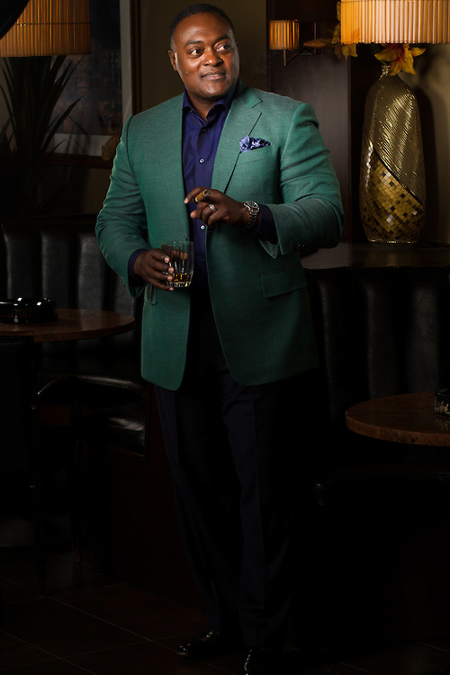 Super 160's natural fiber majestic green jacket paired with navy pants and100% Egyptian cotton navy shirt and silk pocket square