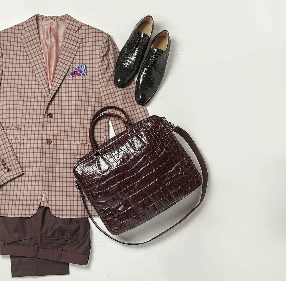 Super 150's silk and wool blend natural fiber tan and burgundy windowpane jacket paired with wool and cashmere blend natural fiber burgundy pants, Anaconda custom made-to-order shoes and NILE crocodile messenger bag