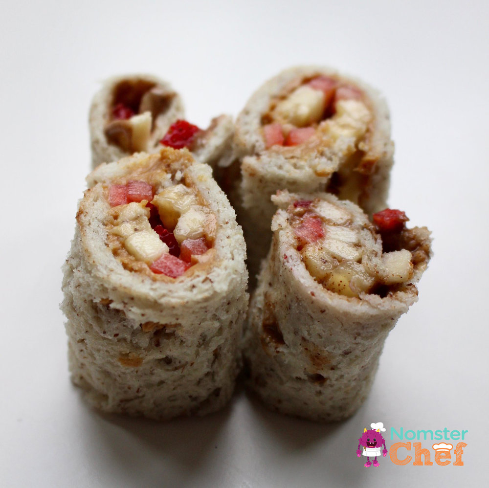 Pbj sushi roll-ups Nomster Chef_5 Healthy Lunches for Kid Chefs