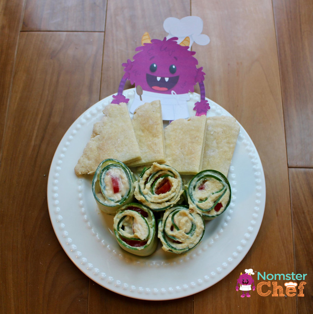 cucumber hummus roll-ups Nomster Chef_5 Healthy Lunches for Kid Chefs