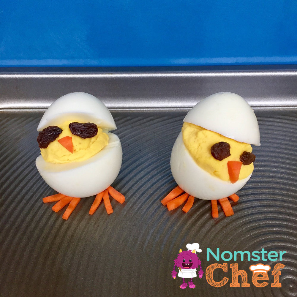 Easter Chick Deviled Eggs - Nomster Chef Healthy Easter Recipes