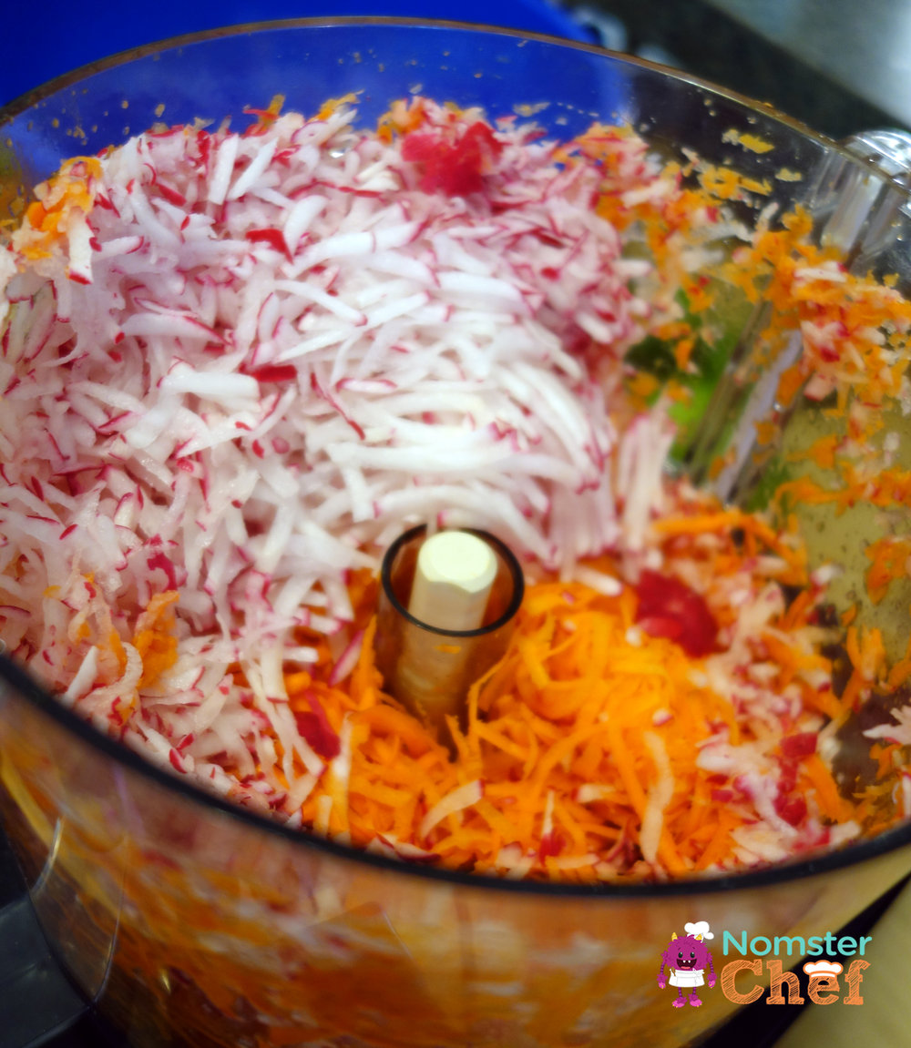 shredded-carrot-radish | cinco-de-mayo-mexican-carrot-slaw | Nomster Chef